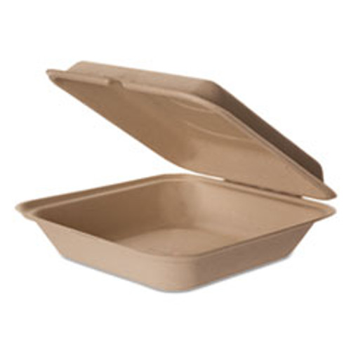 Eco-Products Wheat Straw Hinged Clamshell Containers  9 x 9 x 3  200 Carton (ECOEPHCW9)