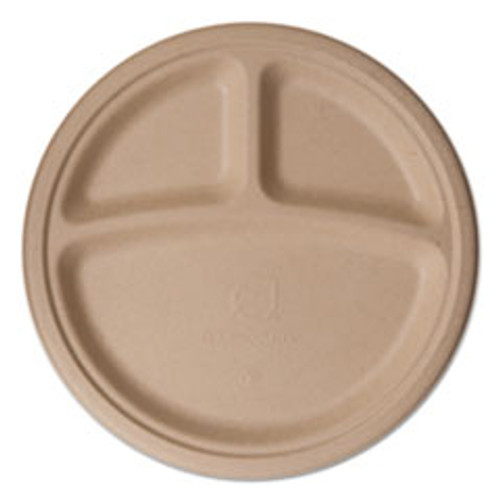 Eco-Products Wheat Straw Dinnerware  3 Compartment Plate  10  Diameter  500 Carton (ECOEPPW103)