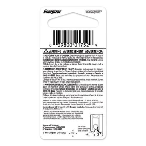 Energizer 2430 Lithium Coin Battery  3V (EVEECR2430BP)