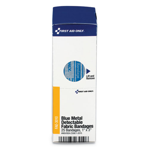 First Aid Only Refill f SmartCompliance Gen Cabinet  Blue Metal Detectable Bandages 1x3 25 Bx (FAOFAE3010)