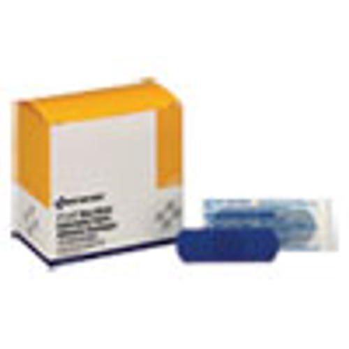 First Aid Only Adhesive Blue Metal Detectable Bandages  1 x 3  Plastic w Foil  100 Bx  12 Bx Ct (FAOH175)