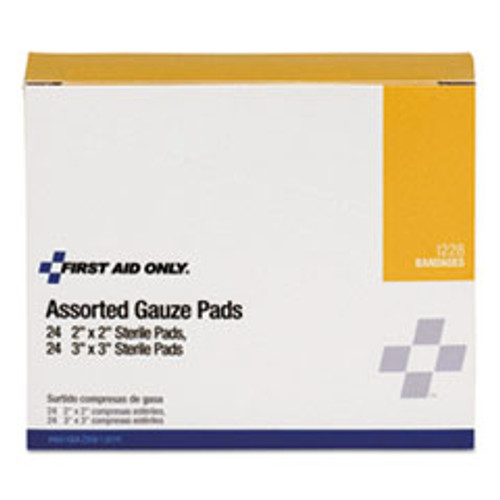 First Aid Only Gauze Pads  2  x 2   3  x 3   48 Box (FAOI228)