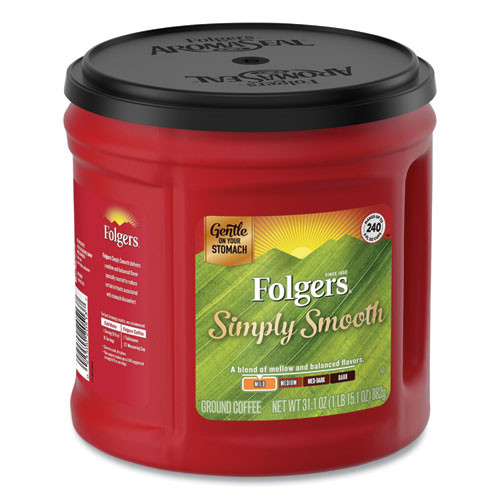 Folgers Country Roast Coffee  Country Roast  25 1 oz Canister  6 Carton (FOL20672)