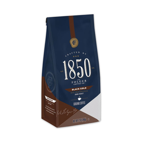 1850 Coffee  Black Gold  Dark Roast  Ground  12 oz Bag  6 Carton (FOL60516)