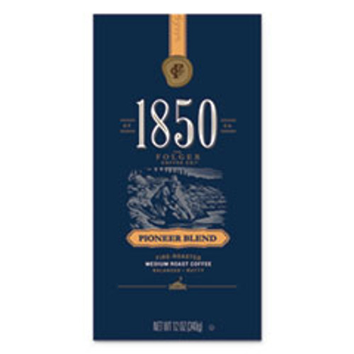 1850 Coffee  Pioneer Blend  Medium Roast  Whole Bean  12 oz Bag  6 Carton (FOL60517)