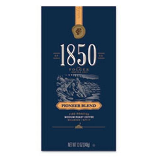 1850 Coffee  Pioneer Blend  Medium Roast  Whole Bean  12 oz Bag  6 Carton (FOL60517)