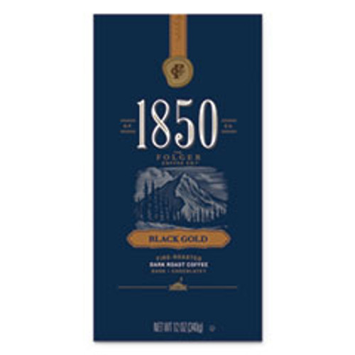 1850 Coffee  Black Gold  Dark Roast  Whole Bean  12 oz Bag  6 Carton (FOL60518)