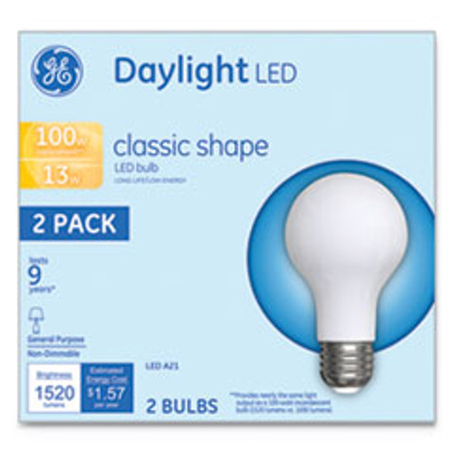 GE LED Classic Daylight A21 Light Bulb  13 W  2 Pack (GEL31186)