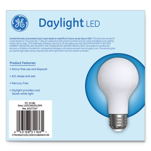 GE LED Classic Daylight A21 Light Bulb  13 W  2 Pack (GEL31186)