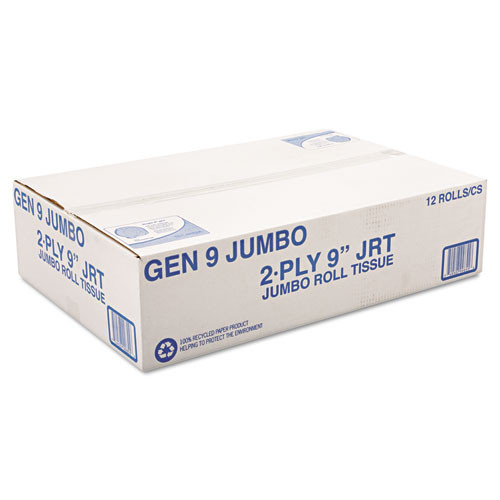 General Supply Jumbo Roll Bath Tissue  Septic Safe  2-Ply  White  3 3  x 700 ft  12 Carton (GEN9JUMBOB)