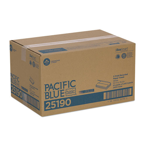 Georgia Pacific Professional Pacific Blue Basic C-Fold Paper Towel 10 1 4 x 13 1 4  White 240 Pack  10 PK CT (GPC25190)
