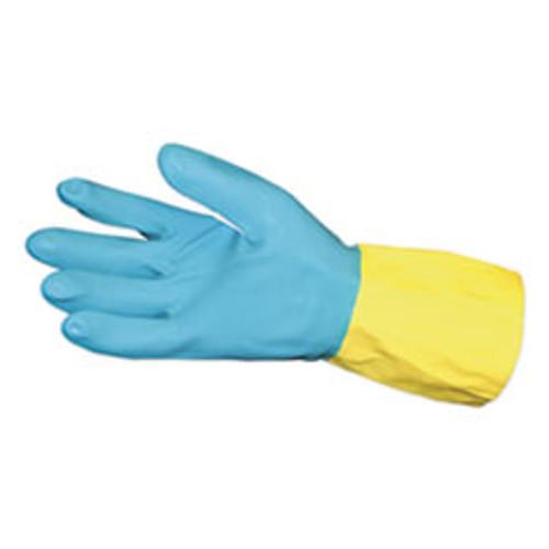 Impact Flocked Lined Neoprene Over Latex Gloves  Powder-Free  Blue Yellow  Large  Dozen (IMP8433L)