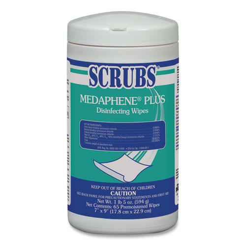 SCRUBS MEDAPHENE Plus Disinfecting Wipes  Citrus  8 x 7  White  65 Canister  6 Carton (ITW96365)