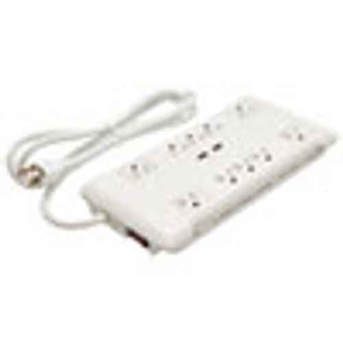Innovera Slim Surge Protector  10 Outlets 2 USB Charging Ports  6 ft Cord  2880 J  White (IVR71670)
