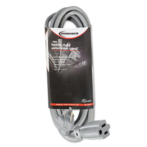 Innovera Indoor Heavy-Duty Extension Cord  15ft  Gray (IVR72215)