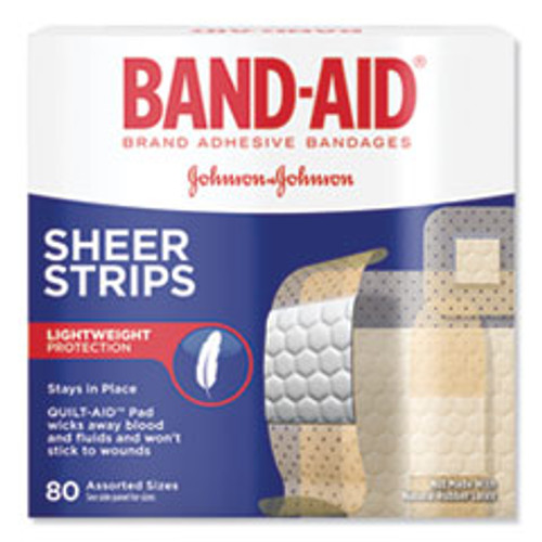 BAND-AID Tru-Stay Sheer Strips Adhesive Bandages  Assorted  80 Box (JOJ4669)
