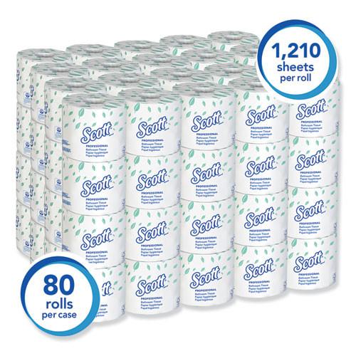 Scott Essential Standard Roll Bathroom Tissue  Septic Safe  1-Ply  White  1210 Sheets Roll  80 Rolls Carton (KCC05102CT)