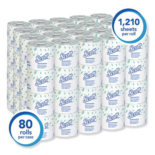 Scott Essential Standard Roll Bathroom Tissue  Septic Safe  1-Ply  White  1210 Sheets Roll  80 Rolls Carton (KCC05102CT)