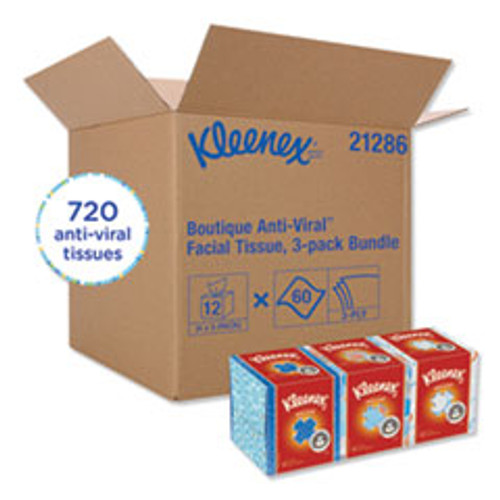 Kleenex Boutique Anti-Viral Facial Tissue  3-Ply  White  Pop-Up Box  60 Sheets Box  3 Boxes Pack  4 Packs Carton (KCC21286CT)