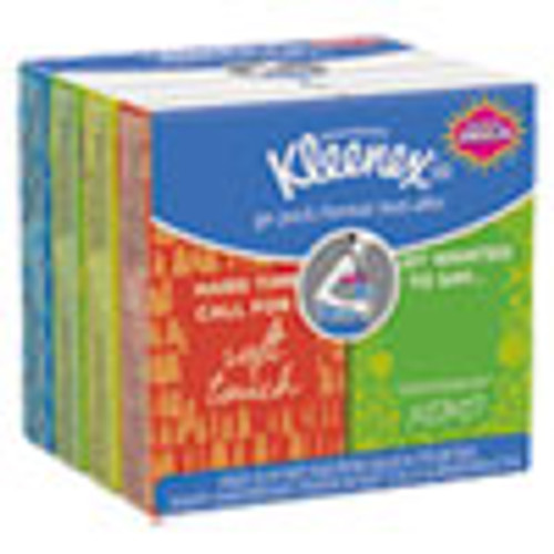 Kleenex On The Go Packs Facial Tissues  3-Ply  White  10 Sheets Pouch  8 Pouches Pack  12 Packs Carton (KCC46651CT)