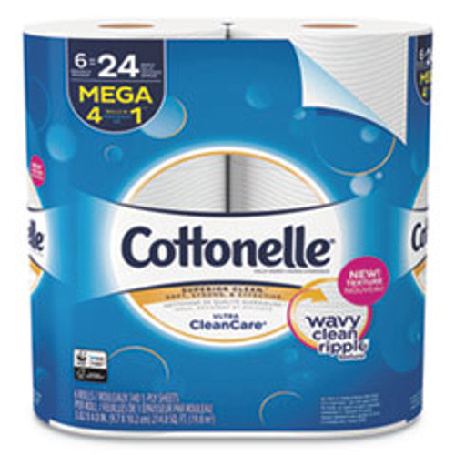 Cottonelle Ultra CleanCare Toilet Paper  Strong Tissue  Mega Rolls  Septic Safe  1-Ply  White  340 Sheets Roll  6 Rolls Pack  6 Packs CT (KCC47747)