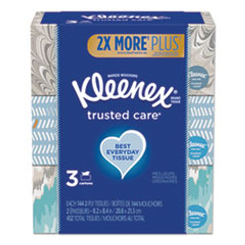 Kleenex Trusted Care Facial Tissue  2-Ply  White  144 Sheets Box  3 Boxes Pack  12 Packs Carton (KCC50219)