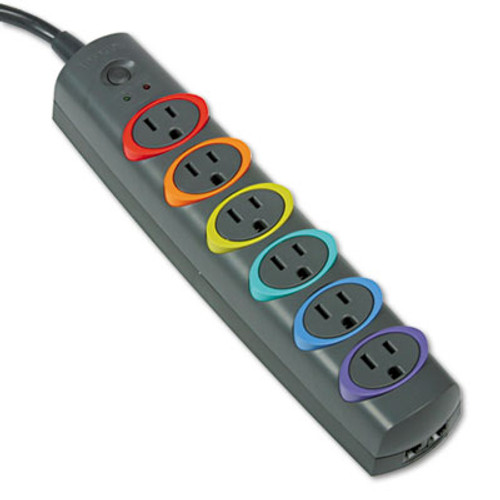 Kensington SmartSockets Color-Coded Strip Surge Protector  6 Outlets  7 ft Cord  945 Joules (KMW62147)
