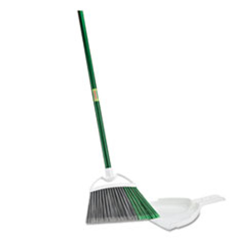 Libman Commercial Precision Angle Broom with Dustpan  53  Handle  Green Gray  4 Carton (LBN206)