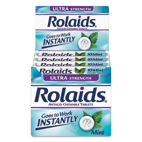 Rolaids Ultra Strength Antacid Chewable Tablets  Mint  10 Roll  12 Roll Box (LILR10034)