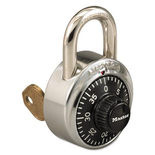Master Lock Combination Stainless Steel Padlock w Key Cylinder  1 7 8  Wide  Black Silver (MLK1525)