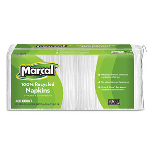 Marcal 100  Recycled Lunch Napkins  1-Ply  11 4 x 12 5  White  400 Pack (MRC6506PK)