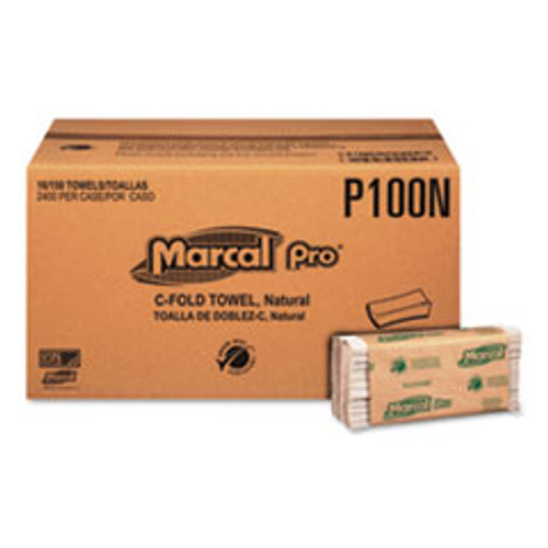 Marcal PRO Folded Paper Towels  1-Ply  10 1 8  x 12 7 8    150 Pack  16 Packs CT (MRCP100N)