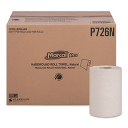 Marcal PRO Hardwound Roll Paper Towels  1-Ply  7 7 8  x 600ft  12 Rolls Pack 12 Pack Carton (MRCP726N)