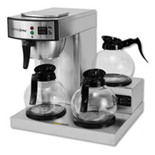 Coffee Pro Three-Burner Low Profile Institutional Coffee Maker  Stainless Steel  36 Cups (OGFCPRLG)