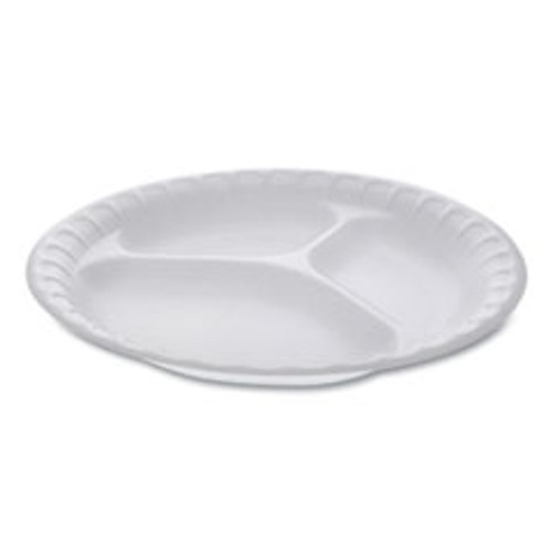 Pactiv Unlaminated Foam Dinnerware  3-Compartment Plate  9  Diameter  White  500 Carton (PCT0TH10011)
