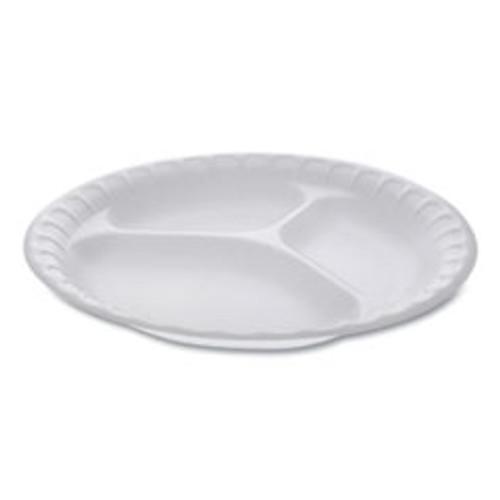 Pactiv Unlaminated Foam Dinnerware  3-Compartment Plate  9  Diameter  White  500 Carton (PCT0TH10011)