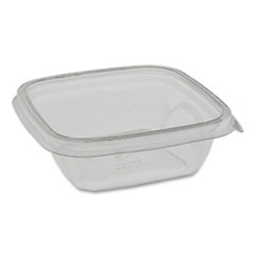 Pactiv EarthChoice Recycled PET Square Base Salad Containers  5 x 5 x 1 63  12 oz  Clear  504 Carton (PCTSAC0512)