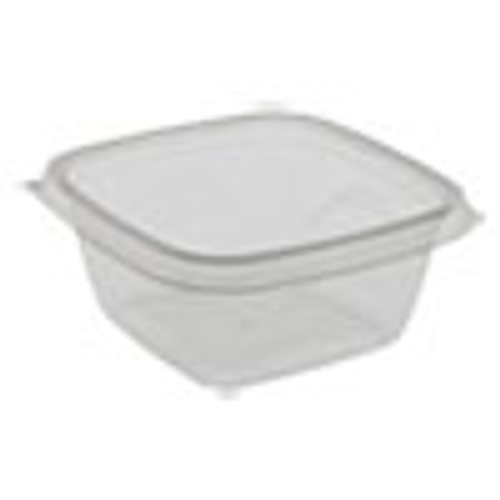 Pactiv EarthChoice Recycled PET Square Base Salad Containers  5 x 5 x 1 75  16 oz   Clear  504 Carton (PCTSAC0516)