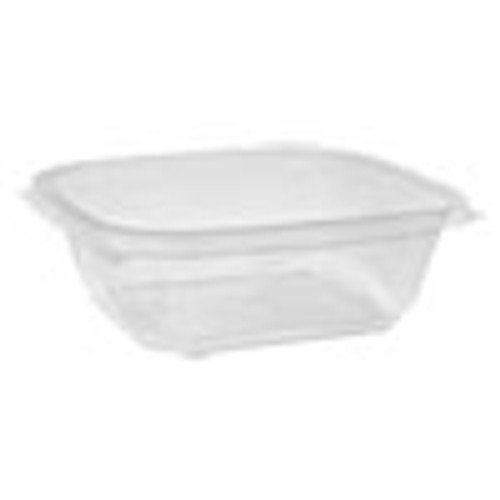 Pactiv EarthChoice Recycled PET Square Base Salad Containers  7 x 7 x 2  32 oz  Clear  300 Carton (PCTSAC0732)