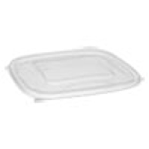 Pactiv EarthChoice Recycled Plastic Square Flat Lids  7 38 x 7 38 x 0 26  Clear  300 Carton (PCTSACLF07)