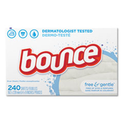 Bounce Free   Gentle Fabric Softener Dryer Sheets  Unscented  240 Box  6 Box Carton (PGC24684)