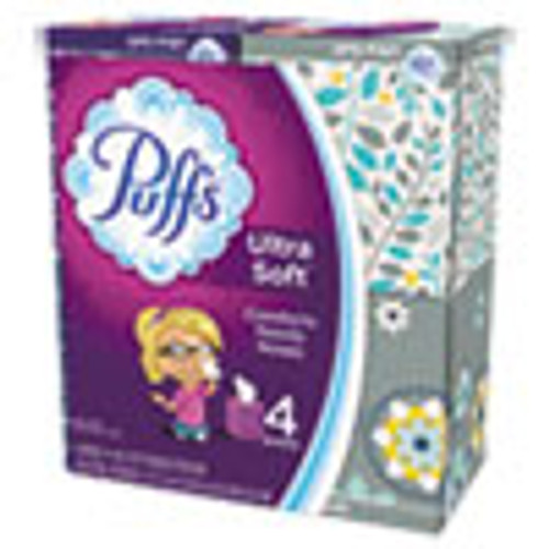 Puffs Ultra Soft Facial Tissue  2-Ply  White  56 Sheets Box  4 Boxes Pack (PGC35295PK)