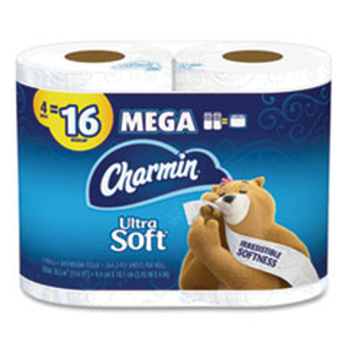 Charmin Ultra Soft Bathroom Tissue  Septic Safe  2-Ply  White  4 x 3 92  264 Sheets Roll  4 Rolls Pack  6 Packs Carton (PGC52769)