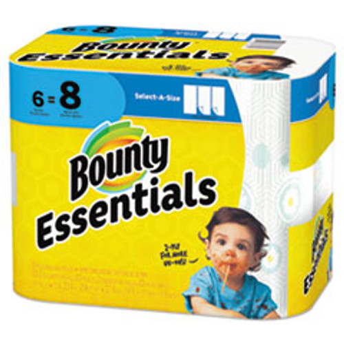 Bounty Essentials Select-A-Size Paper Towels  2-Ply  83 Sheets Roll  6 Rolls Carton (PGC74651)