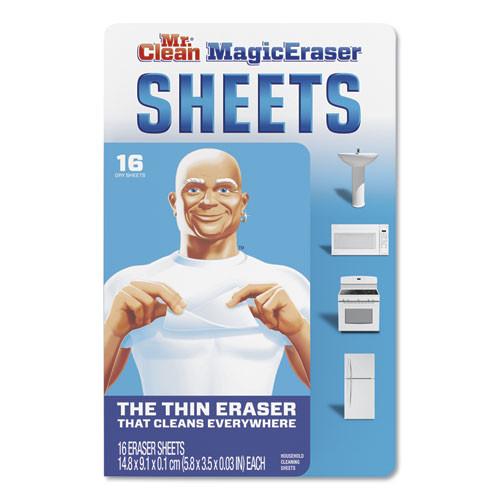 Mr. Clean Magic Eraser Sheets  3 5  x 5 8  x 0 03   White  16 Pack  8 Pack Carton (PGC90618)