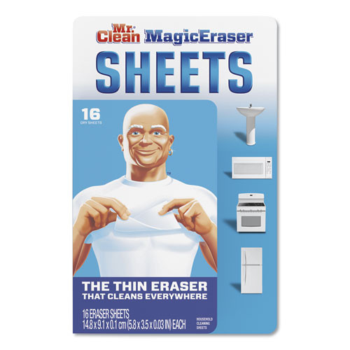 Mr. Clean Magic Eraser Sheets  3 1 2  x 5 4 5  x 0 03   White  16 Pack (PGC90618PK)