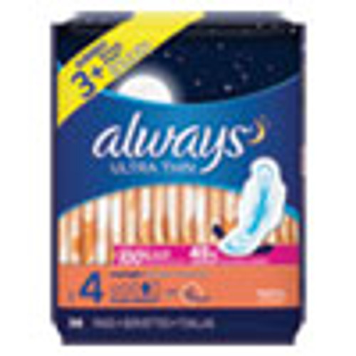 Always Ultra Thin Overnight Pads with Wings  38 Pack (PGC95236PK)