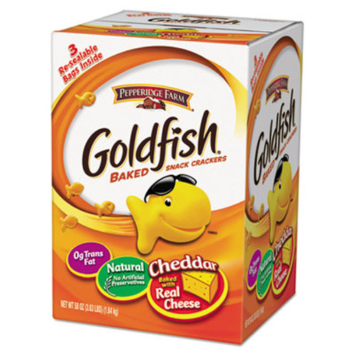 Pepperidge Farm Goldfish Crackers  Baked Cheddar  58 oz Resealable Bag in Box (PPF827562)