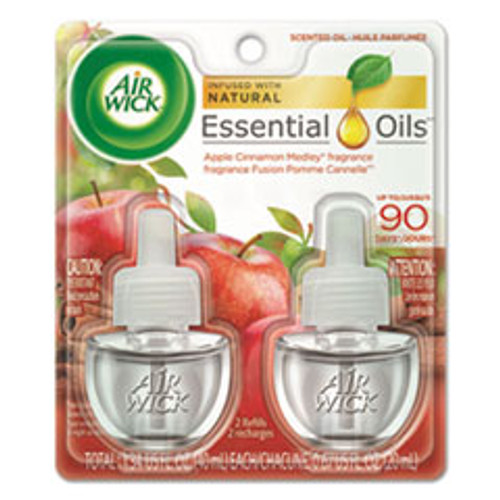 Air Wick Scented Oil Refill  Warming - Apple Cinnamon Medley  0 67 oz  Orange  2 Pack (RAC80420PK)