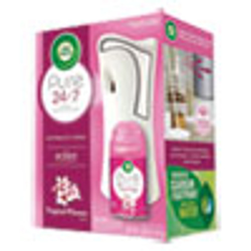 Air Wick Freshmatic Ultra Automatic Pure Starter Kit  3 33 x 3 53 x 7 76  White  Tropical Flowers 4 Carton (RAC97290)